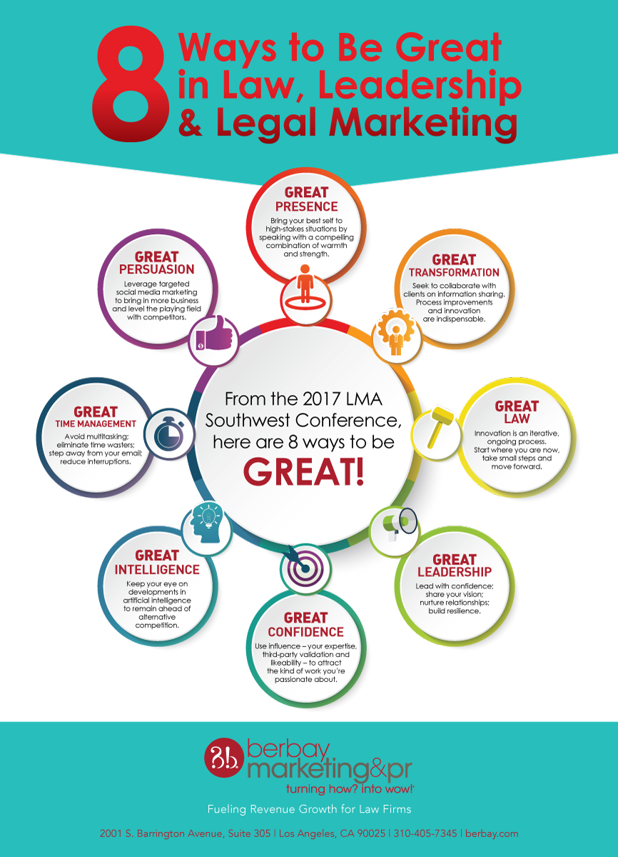 8 Ways to be great in law, leadership & legal marketing